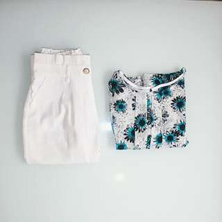 Dainty Sophisticated Floral top And White Cropped Slacks