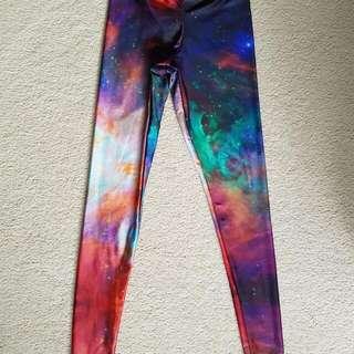 Black Milk Galaxy Rainbow Legs Size M