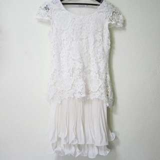 White Lace Dress With Ruffles