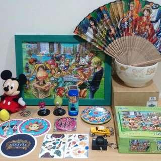 海賊王 拼圖108片含框 日本 草帽商店扇子 陶瓷碗 吊飾 扭蛋 轉蛋  歌舞伎 迪士尼 米老鼠 千陽號 紙杯墊