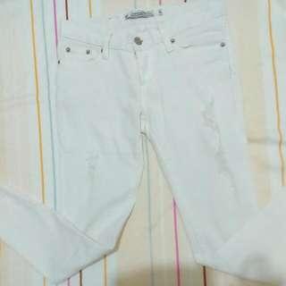 (保留)白色牛仔長褲S