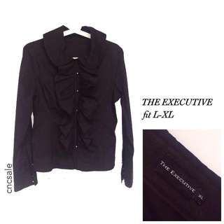 New -The Executive-Black Shirt w/ ruffles accent