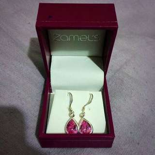 Brand New Pink Stone Hanging Earrings