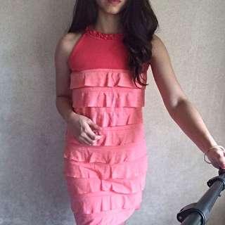 Ruffled Dress (Pinkish Coral)