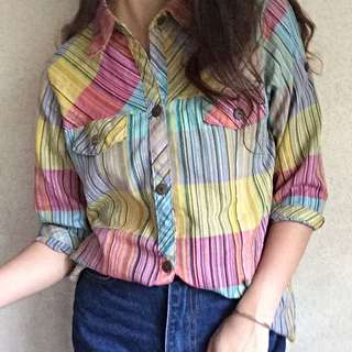 Soft Color Checkered Top