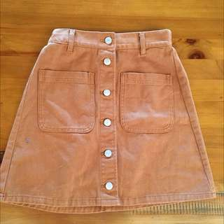 brown button skirt