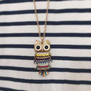 Owl Color in Gold Necklace