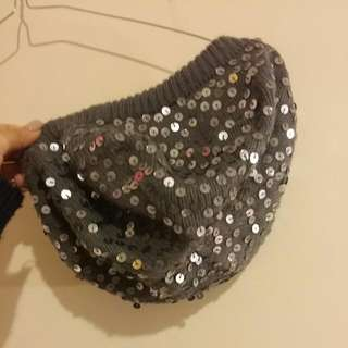 Grey Beret With Silver Sequins