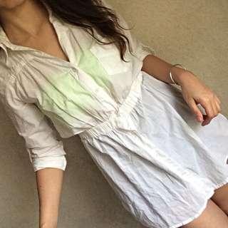 Sheer White Long Sleeve Long Top