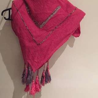 Fushia Pink Linen Bohemian Scarf