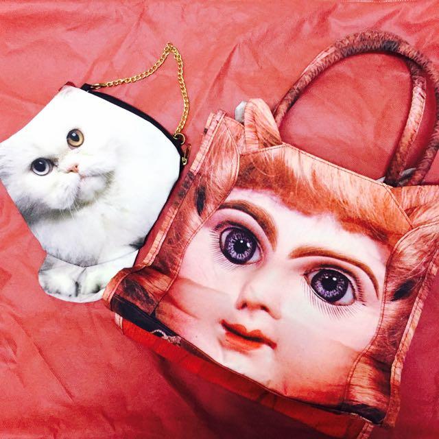 🔥降價🔥日雜兩用包托特包零錢包 貓 娃娃 #女裝五折出清
