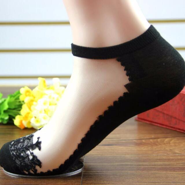 夏季女生襪子 蕾絲襪子 隱形水晶襪子 短襪 船型襪 棉材質 高跟鞋/平底鞋 日系花邊 時尚大方 穿搭方便