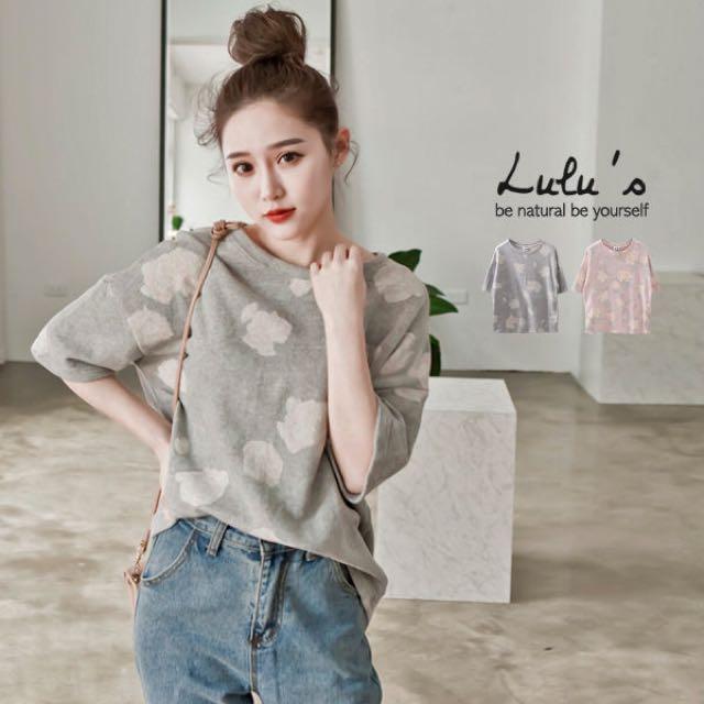 全新 LULUS-L韓製-滿版花朵寬鬆上衣 粉 韓製 正韓 韓貨 Korea
