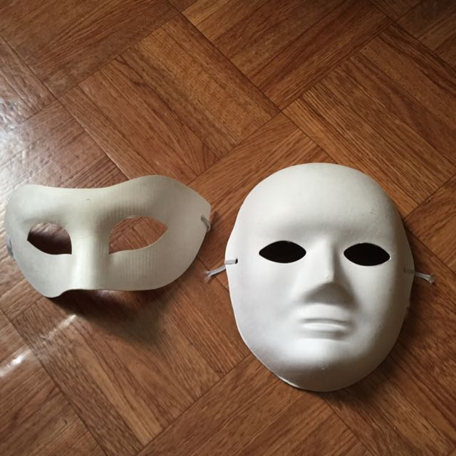 art and craft white masks design craft on carousell