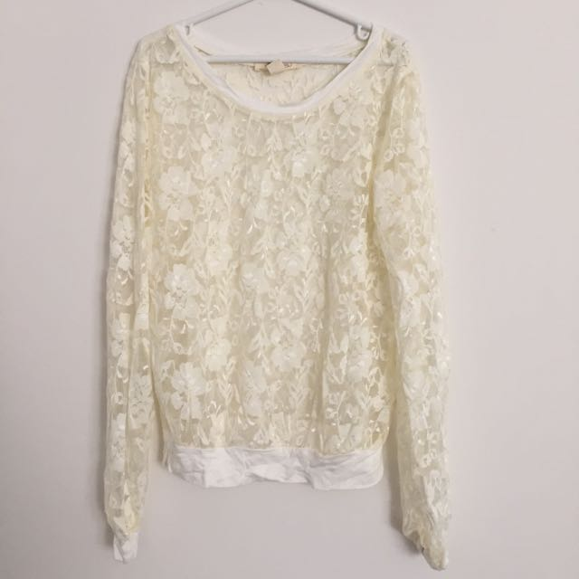 BRAND NEW Fully Laced Cream Top
