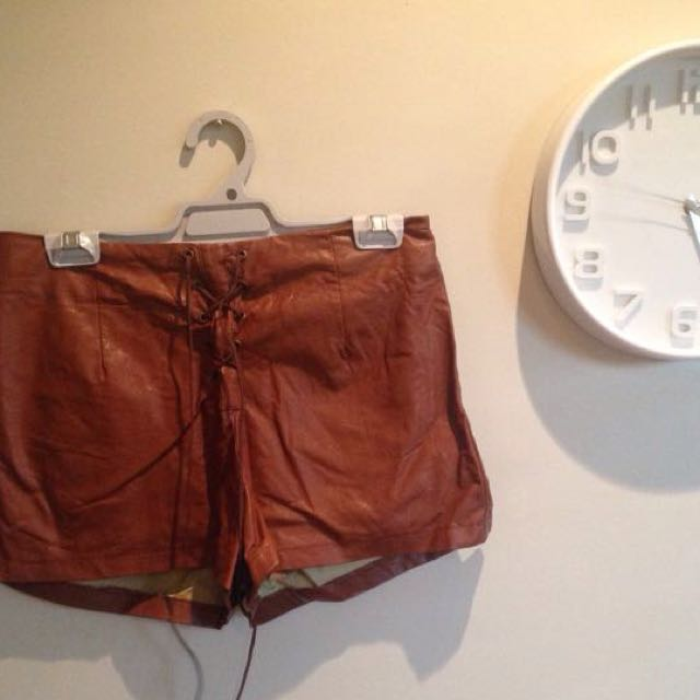 Brown Tie Faux Leather Shorts