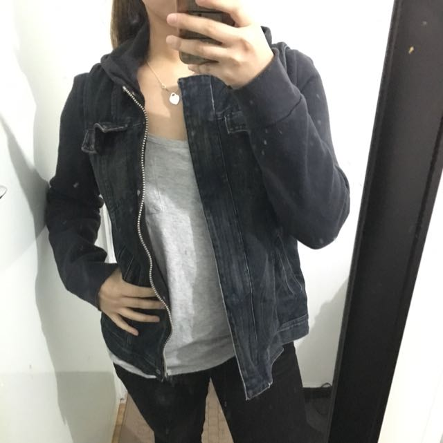 Denim hooded jacket with cotton sleeves