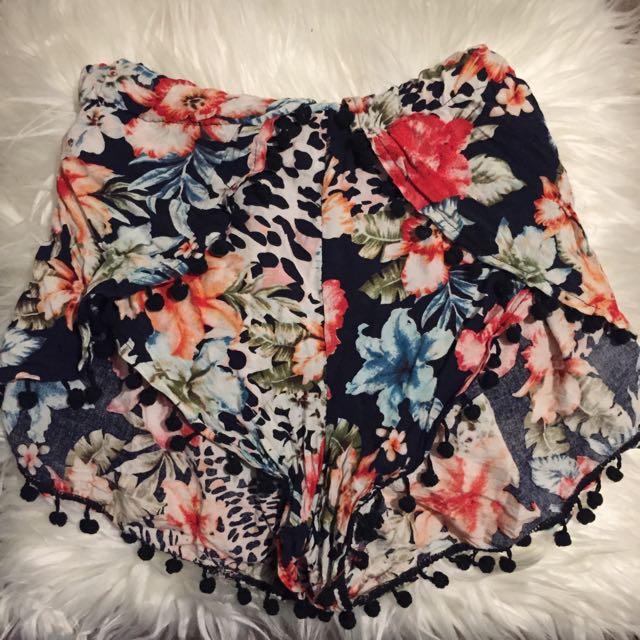 Floral Pom Pom Shorts