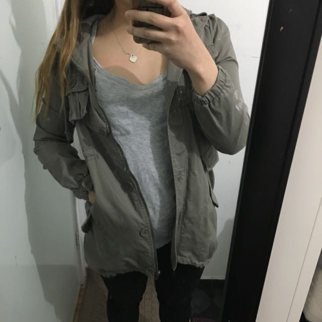 Khaki jacket with hoodie