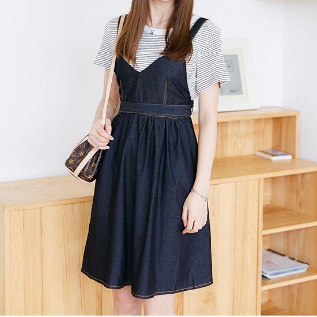 Korean style denim sling dress + T shirt in a set