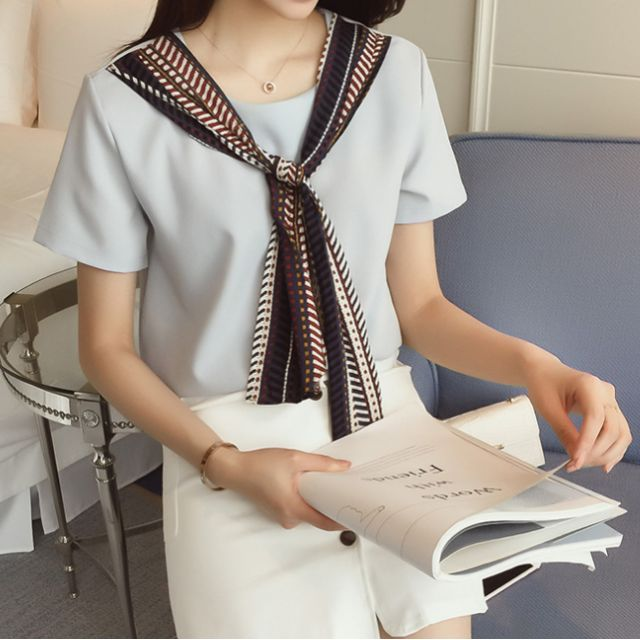 Korean style top with neckcloth
