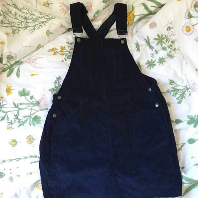 NAVY CORDUROY PINAFORE / DUNGAREE