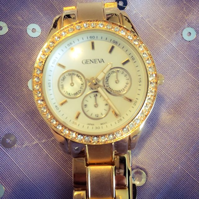 New Crystal dial gold watch