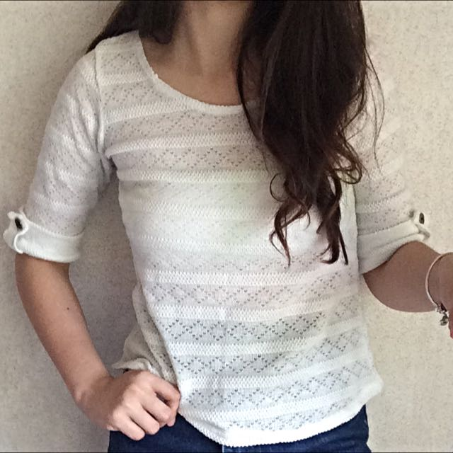 Semi Sheer White Knitted Top