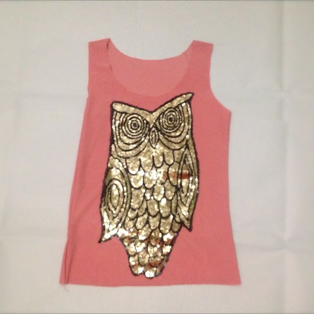 Sequined Owl Pink Tank Top