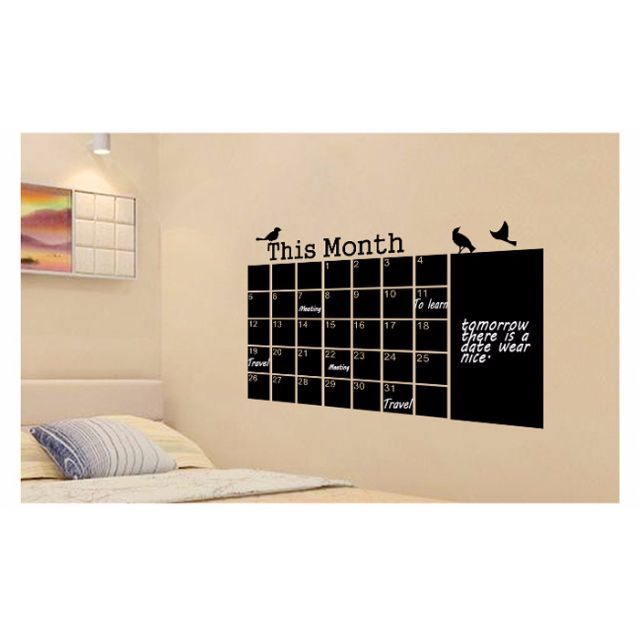 weekly/ monthly chalkboard/ whiteboard maker calendar wall decal