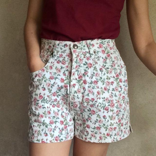 White Denim Garden Shorts (High waist)