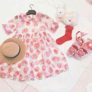 [全新] 日系軟妹草莓罩衫連衣裙/ 洋裝