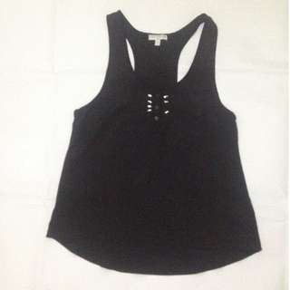 Cotton On Black Racer Tank Top with Beads