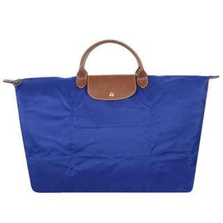 全新 Longchamp寶藍色特大水餃旅行袋