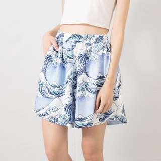 浮世繪海浪紮實滑料短褲