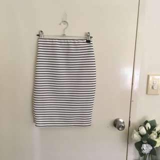 Black And White Stripped Heart On Fire Midi Skirt