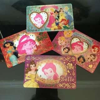 正版迪士尼公主四張小相框卡
