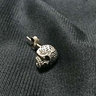 純銀骷髏耳環