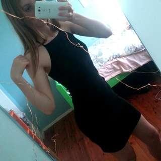 Black ribbed halterneck dress