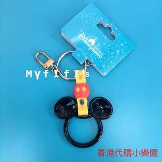 香港迪士尼 經典款鑰匙圈 米奇地鐵拉環的造型