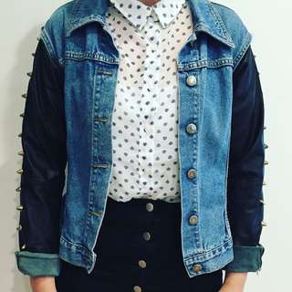 Urban outfitters X ragged Union Studded Denim Vegan Leather Jacket Size Medium