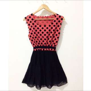 Peach Polka Dress