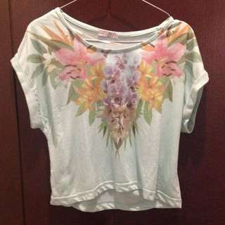 [Re-Price] Cotton On Floral Crop Tee