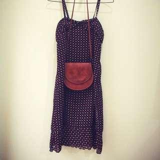 日本古著 紅白愛心細肩帶長裙