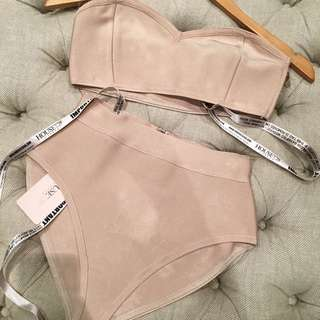 House Of CB Nude Bandage Crop And Briefs