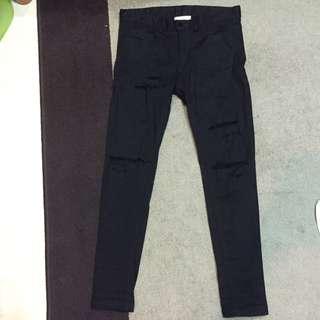 黑色破壞長褲
