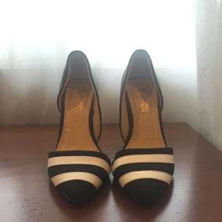 Something Borrowed Black & White Stripe Heels