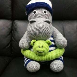 Crochet Hippo... You Can Hug Him Always.