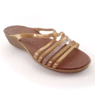 Sandal Wedges Wanita Crocs Isabella Wedges Brown