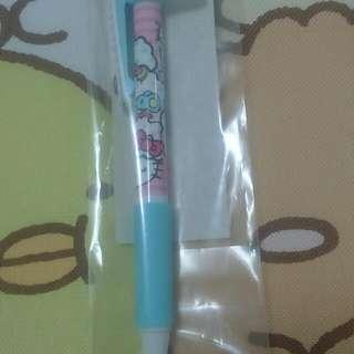 日本製 Hello Kitty HK 凱蒂貓 無嘴貓 黑色 油性 原子筆 蝴蝶結 毛絨絨 文具 筆